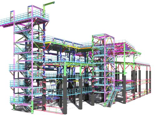Bim,Model,Of,A,Building,Made,Of,Metal,Construction,,Metal
