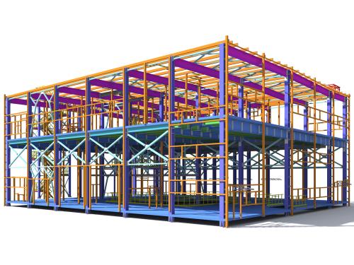 Building,Information,Model,Of,Metal,Structure.,3d,Bim,Model.,The